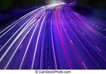 autók, éjjel, noha, indítvány, blur.