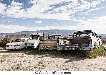 autók, öreg, elhagyatott
