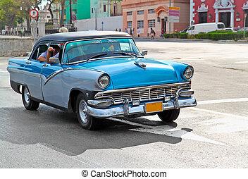autók, amerikai, havana., klasszikus