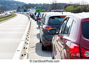 autók, dzsem, forgalom, autóút