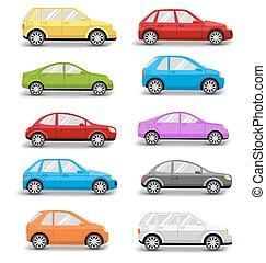 autók, elszigetelt, gyűjtés, többszínű, árnyék, fehér