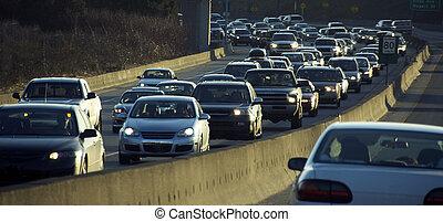 autók, képben látható, a, autóút