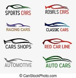 autók, körvonal, és, jel