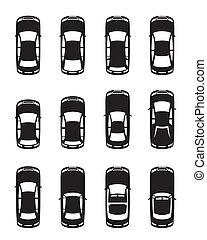 autók, különböző, felül, látott