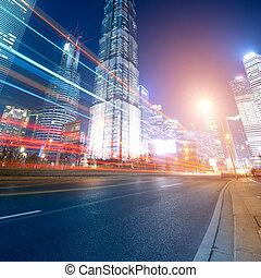 autók, mozgató, gyorsan, éjszaka