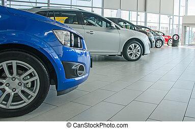 autók, salon., kereskedelem, különféle, új
