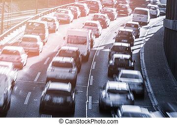 autók, torlódás