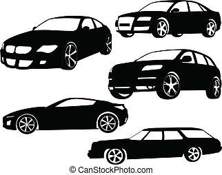 autók, vektor, -, gyűjtés