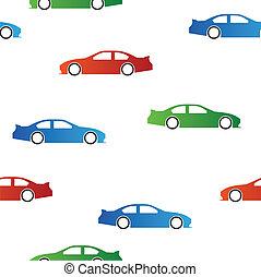 autók, vektor, seamless, struktúra