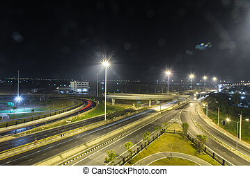 autópálya, utca, Éjszaka