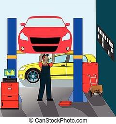 autószerelő, álló, rendbehozás