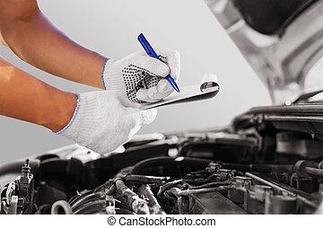 autószerelő, átvizsgálás, autó hajtómű, -ban, a, garázs
