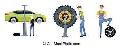 autószerelő, autógumi