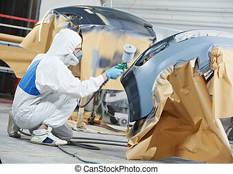 autószerelő, festmény, autó ütköző