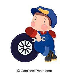 autószerelő, fiú, és, car's, autógumi