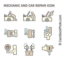 autószerelő, ikon