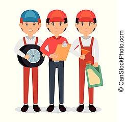 autószerelő, karikatúra, szolgáltatás
