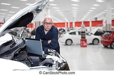 autószerelő, service., rendbehozás, mosolygós, autó