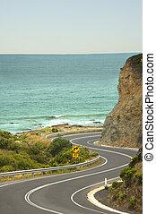 autózás, út, australia's, óceán, -, nagy, szórakozási