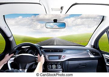 autózás, egy, autó