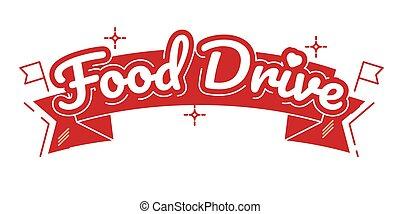 autózás, vektor, élelmiszer, jótékonyság, mozgalom, ábra