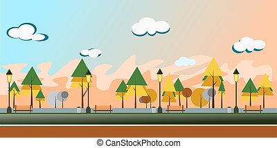 autamn, illustration., vecteur, nature, parc ville