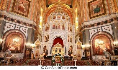 autel, christ, dôme, principal, sauveur, cathédrale
