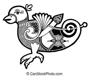 autentico, celtico, nero, uccello bianco