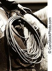 autentico, cowboy, sentiero per cavalcate, (sepia)