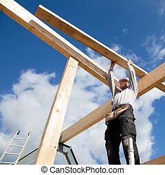 autentisk, arbetare, konstruktion