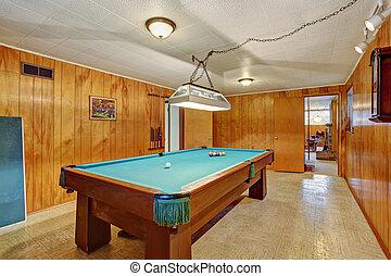 autentiske, boldspil, rum, hos, pulje, tabel.