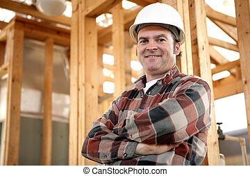 autentyczny, pracownik, zbudowanie