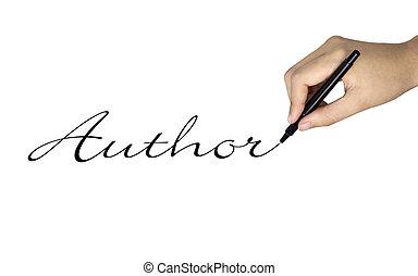 auteur, main humaine, mot, écrit