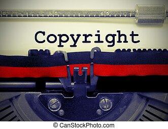 auteursrecht, tekst, door, de, oud, typemachine
