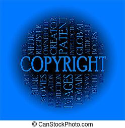 auteursrecht, woord, wolk, concept