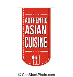 Authentic asian cuisine banner design over a white...