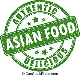 Authentic asian food vector stamp