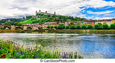 Authentic beautiful towns of Germany - Wurzburg, view with bridge and castle