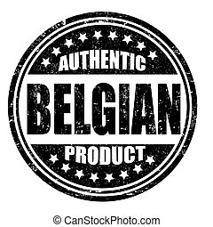 Authentic belgian product grunge rubber stamp on white, vector illustration