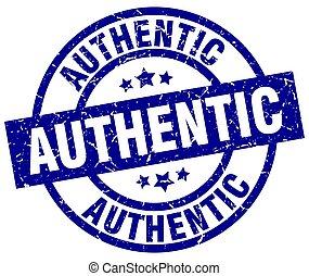 authentic blue round grunge stamp
