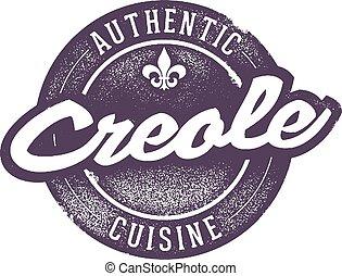Vintage style creole/cajun cooking menu stamp.