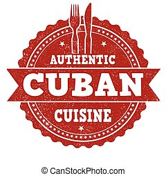 Authentic Cuban cuisine  sign or stamp