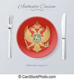 Authentic Cuisine of Montenegro. Plate with Montenegrin Flag...