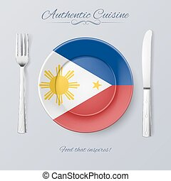 Authentic Cuisine of Philippines. Plate with Filipino Flag...