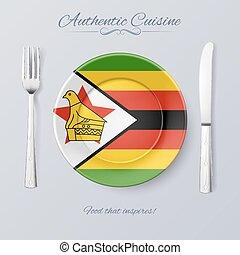Authentic Cuisine of Zimbabwe. Plate with Zimbabwean Flag ...