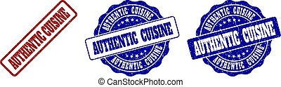 AUTHENTIC CUISINE Scratched Stamp Seals