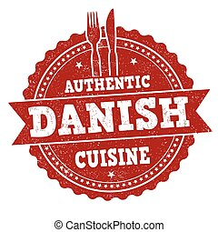 Authentic Danish cuisine grunge rubber stamp