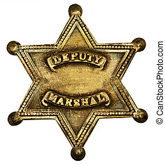Authentic Deputy Marshal Badge - Star-shaped deputy marshal...