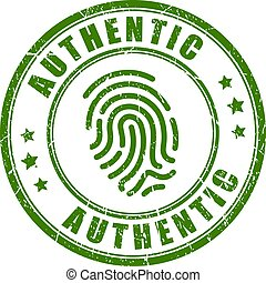 Authentic fingerprint vector stamp