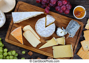 authentic french Cheeses, view from above